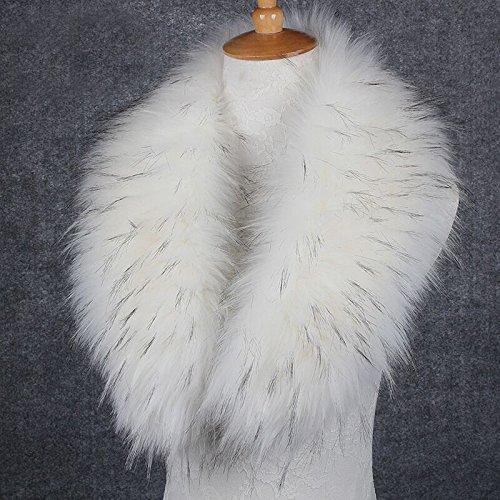 Zorro Pelo 90cm De Falso 70cm Para Parka Mujer Blanco Magimodac Sintética Cuello Bufanda Chaqueta Piel Capucha qXR8R