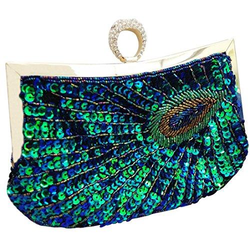 FD bolsa bolso Happy mano pavo lentejuelas de de moda embrague mujeres a noche 1 noche del de mano hecho cuentas de bolso con real HxdZfdqw