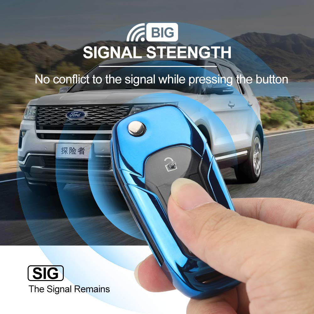 Cool for Ford Fusion//Mondeo//S-max Edge//Fecosport Edge linwei for Ford Key Fob Cover, 360/°Protection Ford Key Case Made of Soft Rubber Make The Car Key Dazzling Durable and Wear-Resistant