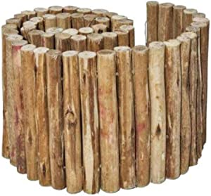 FOREVER BAMBOO Natural Eucalyptus Wood Solid Log for Landscaping Edging, Lawn Garden Fence Borders, 72 in. L x 6 in. H x 1.25 in. D (6)