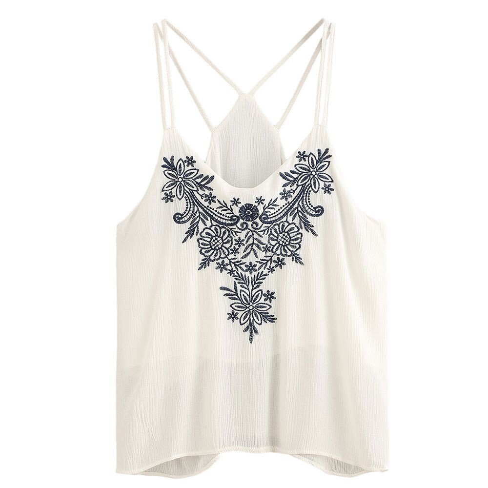 Women Tank Tops, BOLUBILUY Flower Embroidered Strappy Cami Top Off Shoulder T-Shirt Loose Fit Pure Color Blouse