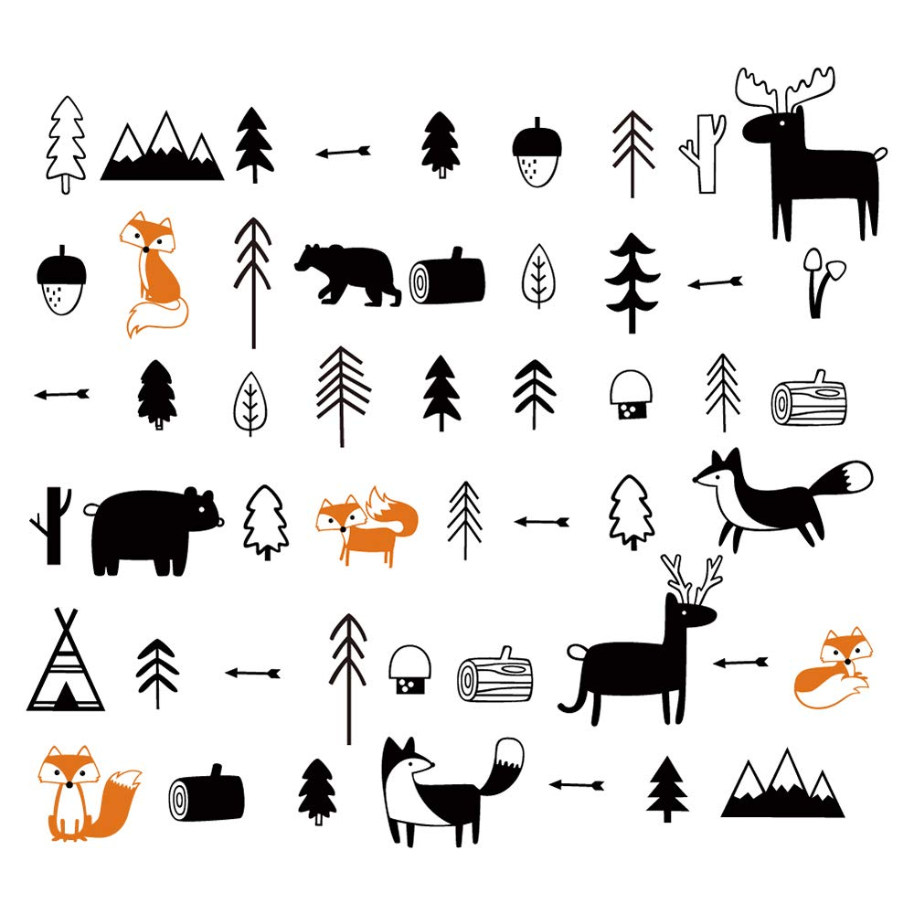 Woodland Animals Wall Decals Deers Foxes Trees Wall Stickers Nursery Wall Art Decor Kids Bedroom Baby Room Decoration Yanfeng