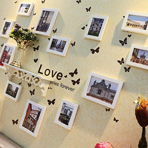 ZZZSYZXL Exquisite Schmetterling Aufkleber Rahmenwand 12 Feld Massivholz kreative Portfolio , B