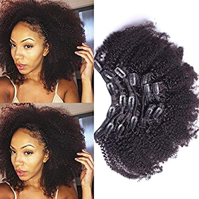 10inch-22inch Clip In Human Hair Extensions Brazilian Virgin Hair Afro Kinky Curly Clip in Hair Extensions Natural 4B 4C Kinky Curly Clip Ins 7pcs/lot,120gram/set
