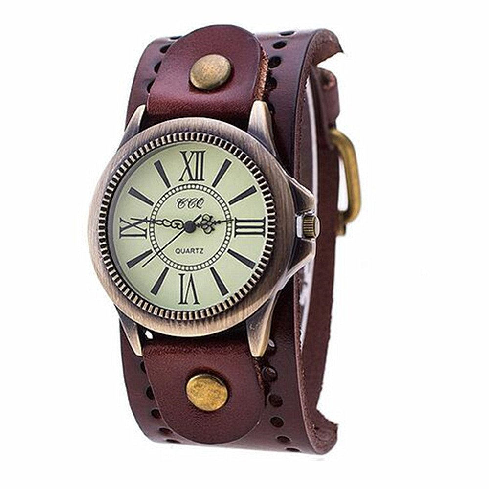 MINILUJIA 70'S Vintage Men Watch Bronze Big Face Dial with Genuine Leather Brand Brown by MINILUJIA (Image #1)