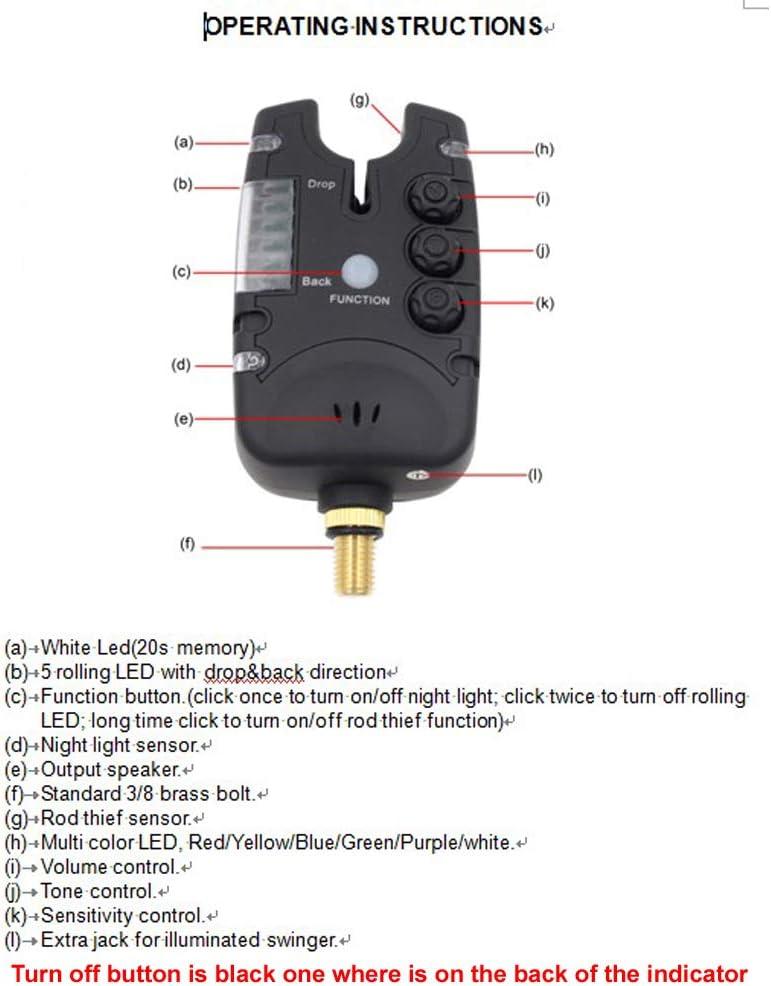 Angeln Bissanzeiger Seneitive Elektronische Angelrute Bissanzeige LED-Licht Angeln Wecker Bissanzeige mit Ton Alarm auf Angelrute Tag//Nacht Angeln LU2000 Angelalarm