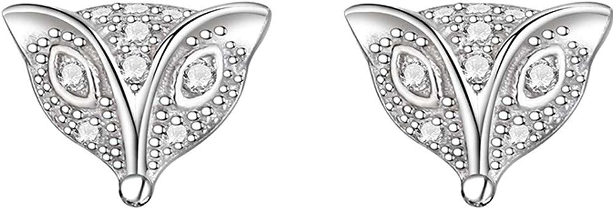 White and Pink Presentski 925 Sterling Silver Cute Mouse Stud Earrings with Cubic Zirconias for Teen Girls