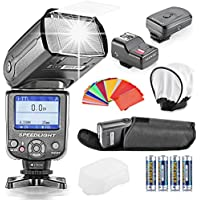 Neewer® NW-985N i-TTL 4-Color TFT Screen Display *High-Speed Sync* Camera Slave Flash Speedlite Kit for Nikon D3S D50 D60 D70 D70S D80 D80S D200 D300 D300S D700 D3000 D3100 D5000 D5100 D7000 and All Other Nikon DSLR Cameras,Include:(1)NW-985N+(1)Universal Mini Flash Bounce Diffuser Cap+(1)35-piece Color Gel Filters+(1)16 Channels Wireless Remote Flash Trigger+(4)LR Battery