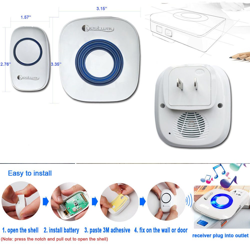 Portable Wireless Doorbell Ring Pager Push Button Remote Ring Bell Loud for Hearing Impaired Home Door Chime 1000ft Long Range Distance 52 Chord Music White by Guestway (Image #3)