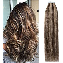 """Top Quality 16"""" 18"""" 20"""" 22"""" Double Side Skin Tape 100% Remy Human Hair Tape in Hair Extensions 20pcs 50g per pack (18"""", #4/27 Medium Brown/Dark Blonde)"""