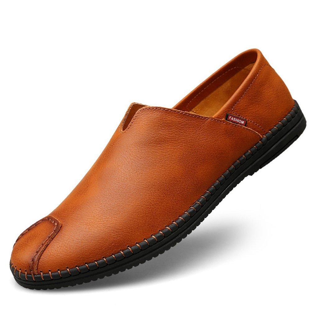 YAN Herren Schuhe Leder Slip On Casual Smart Loafer Driving Stiefelschuhe, Stoßdämpfung, Belüftung, Verschleißfestigkeit, Desodorierung, B,39
