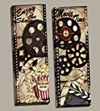 Movie Night! Classic Old-Fashioned Cinema ''Enjoy the Show'' and ''Movie Time'' Panel Set by Tre Sorelle Studios; Two 12x36in Stretched Canvases