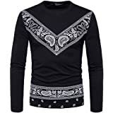 Lolittas Mens T Shirts Top Long Sleeve Casual, Slim Fit Gothic Personalised Pattern Patchwork Round Neck Design Suit Polo Pullover XXL