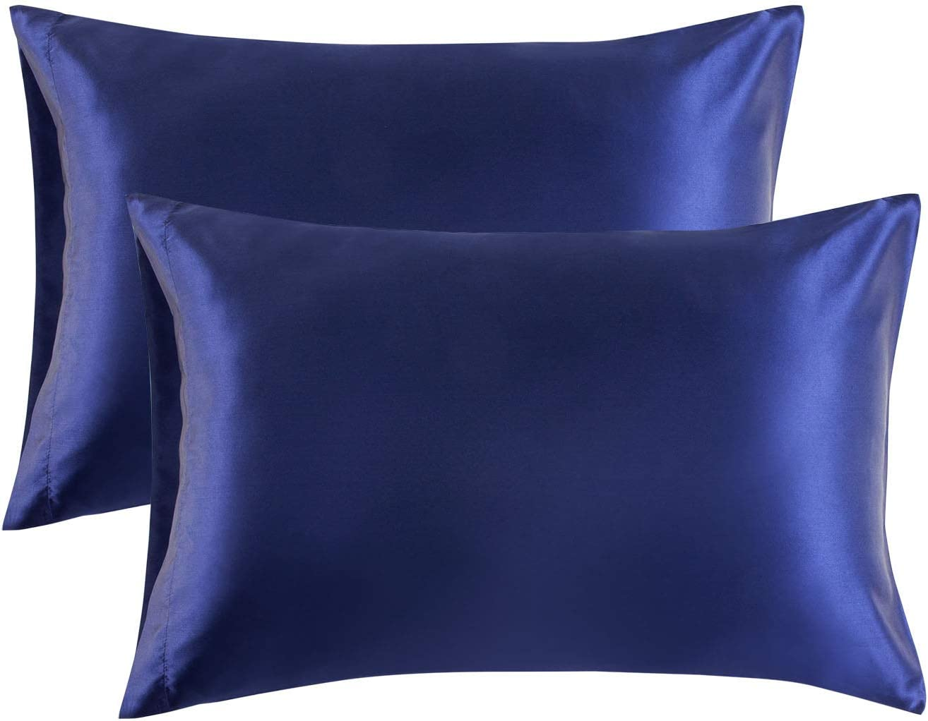 Bedsure Satin Pillowcase for Hair and Skin, 2-Pack - Queen Size (20x30 inches) Pillow Cases - Satin Pillow Covers with Envelope Closure, Navy Blue