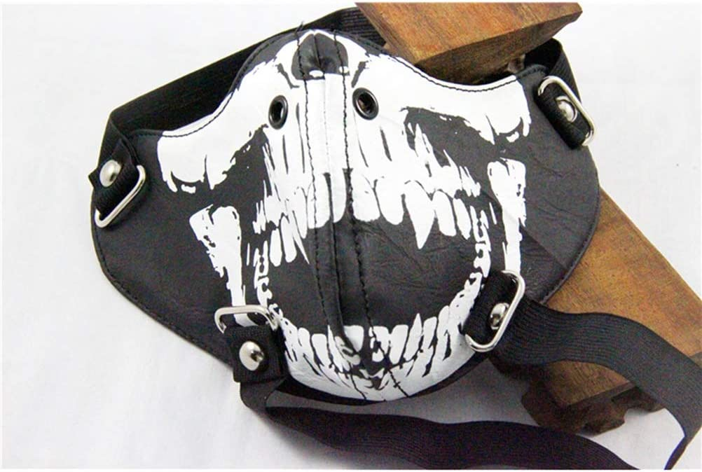 Halloween Mouth Mask Luminous Skull Printed Anti Dust Mask Halloween Decoration Mask (Black)