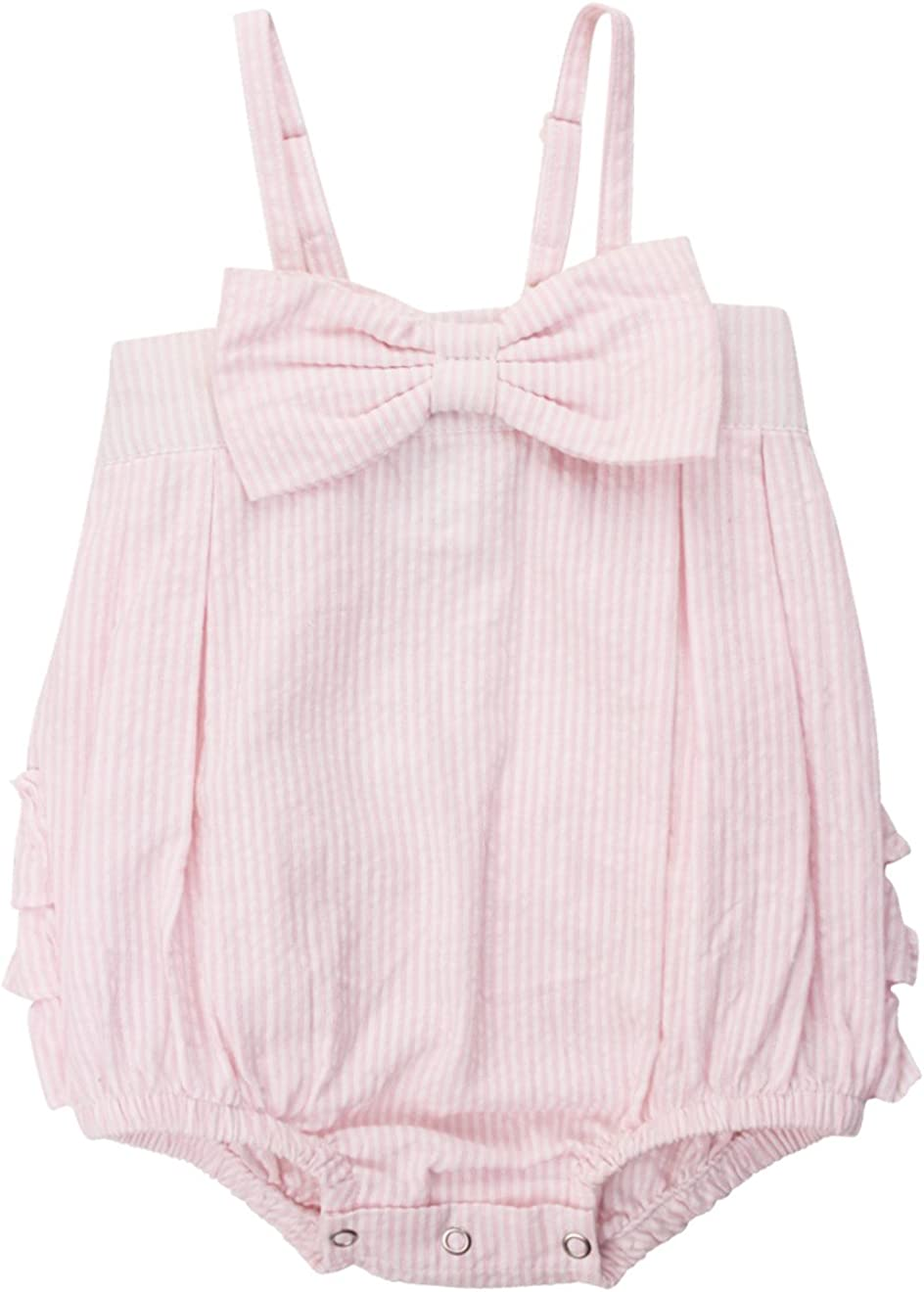 RuffleButts Baby/Toddler Girls Bow-Front Bubble Romper One Piece w/Ruffles 618A6Nr-zYL