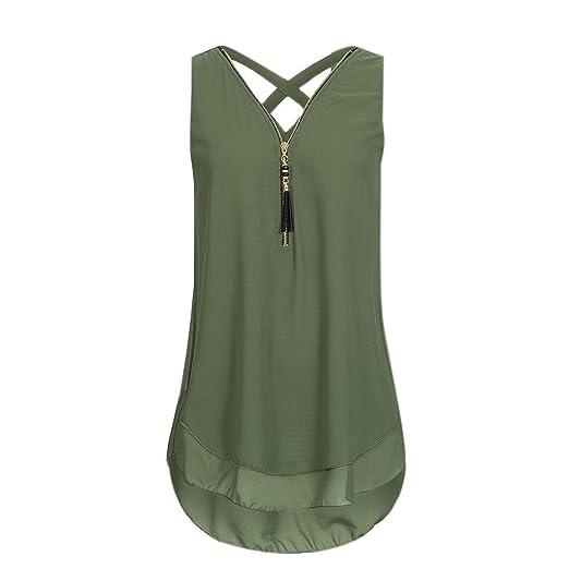 80d3004b069 POTO Women Tank Tops Ladies Fashion Loose Chiffon Vest Top Zipper  Sleeveless Blouse Camisole T Shirt