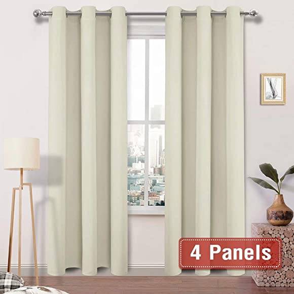 DWCN Blackout Curtains Room Darkening Grommet Thermal Insulated Triple Weaved 42 x 95 Inches Length Light Blocking Curtain Panels for Bedroom Living Room, 4 Thick Panels, Beige