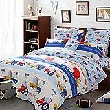 LELVA Cartoon Bedding Kids Bedding Set Cotton Boys Truck Bedding Fitted / Flat Sheet Set 4-Piece (Full, Flat Sheet)