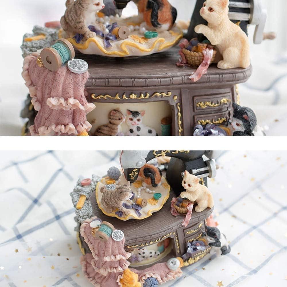 YYJIAJU Cat Music Box Retro Mini Cat Máquina de Coser Estilo ...