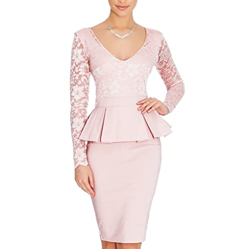 Eudolah Womens Pencil Dress Short Bodycon Lace Long Sleeve Dress
