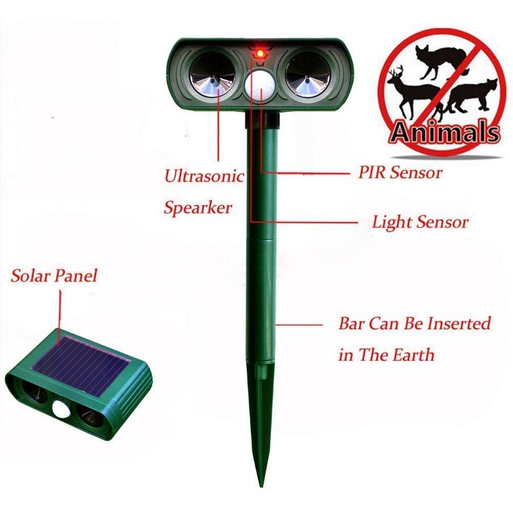 Lic-store Cat Dog Repellent Repeller Ultrasonic Outdoor, Solar Powered Fox Raccoon Rat Squirrel Animal Pest Repellent Repeller Control