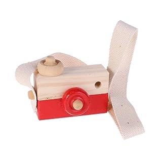 Tebatu Wooden Toy Camera Kids Creative Neck Hanging Rope Toys Photography Prop Gift — Pink