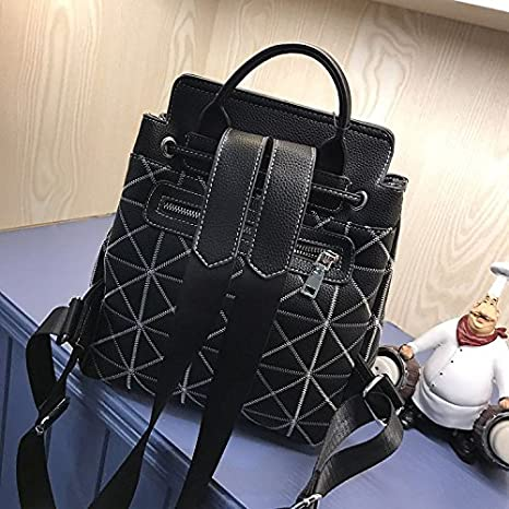 SJMMBB Double shoulder bag female backpack female leisure school wind travel book bag,black,22X12X27cm