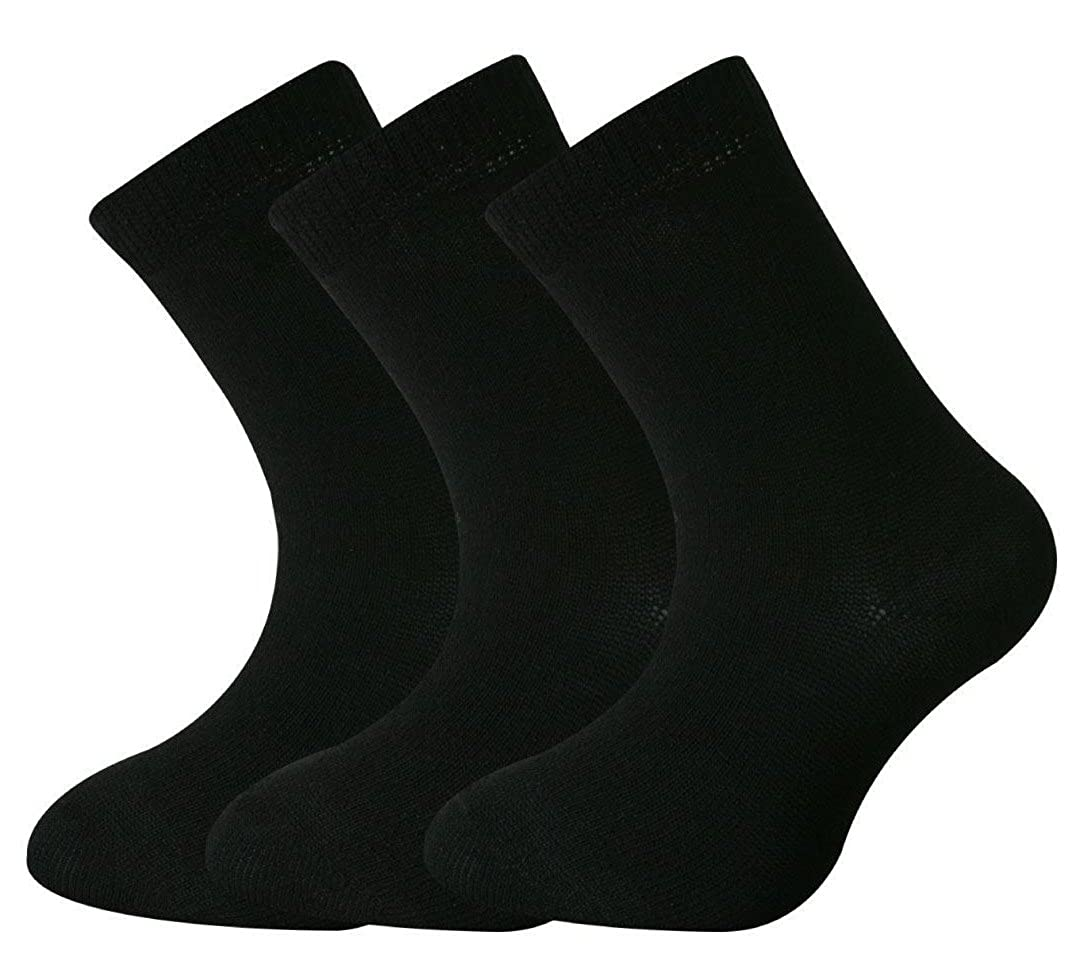12 Pairs Boys Girls Short Ankle Cotton Rich Plain School Socks Black Size 6-8 Years Old