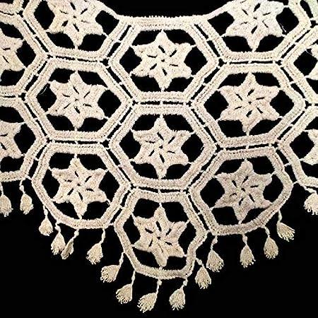 Cream A Embroidered Floral Lace Neckline Neck Collar Trim Clothes Sewing Applique Edge