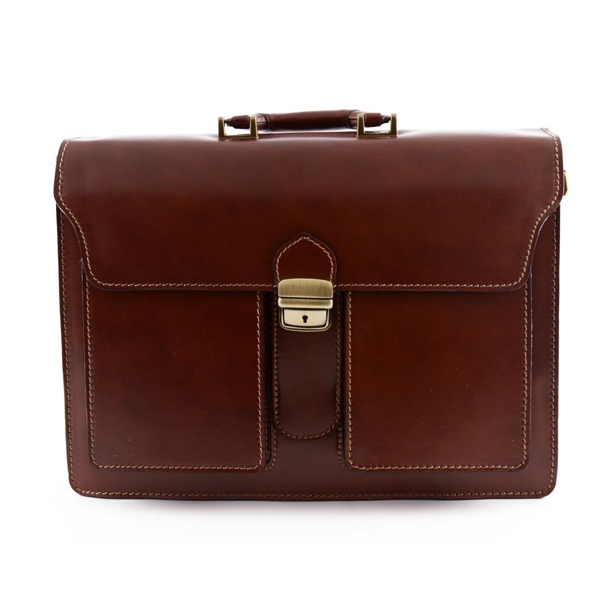Made In Italy Genuine Leather Professional Briefcase 3 Compartments And 2 Pockets Color Brown - Business Bag B0177FAX1G