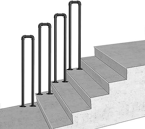 Amrai Barandilla de transición escalonada, 1 Pieza Barandilla de Escalera Negra Mate Barandillas de Hierro Forjado Barandillas para escaleras Interiores y Exteriores: Amazon.es: Hogar