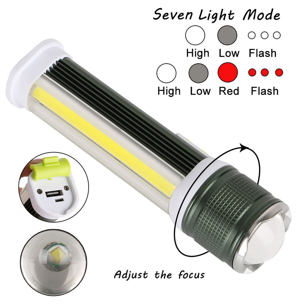 LED COB Work Light with 7 modes, Rechargeable Built-in Battery Tactical Torch Lamp, Great for Long-distance Observation and Large Area Lighting