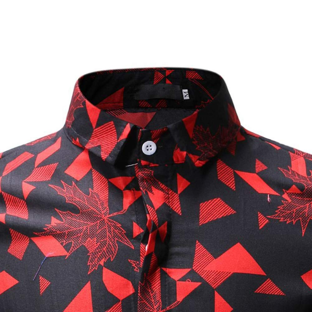 Starlit Summer Beach Men All-Match Maple Leaf Print Turn Down Collar Short Sleeve Shirt Slim Top Yellow XL