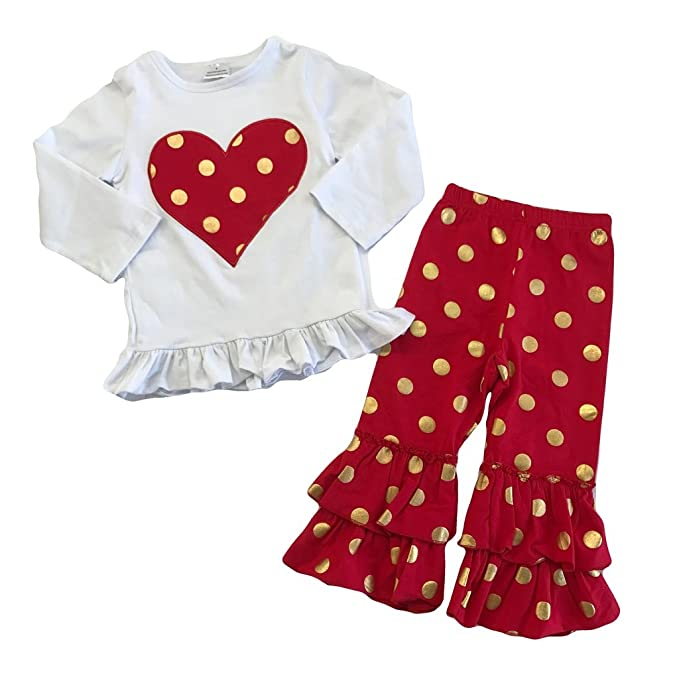 deb2823f5 Cute Kids Clothing Toddler Girl Outfit Red & Gold Heart Polka Dot Outfit  Boutique Clothing Set