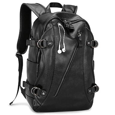 Men s Vintage Backpack School Bag Travel Satchel PU Leather Book Bag  Rucksack c6ca3b1169ecd