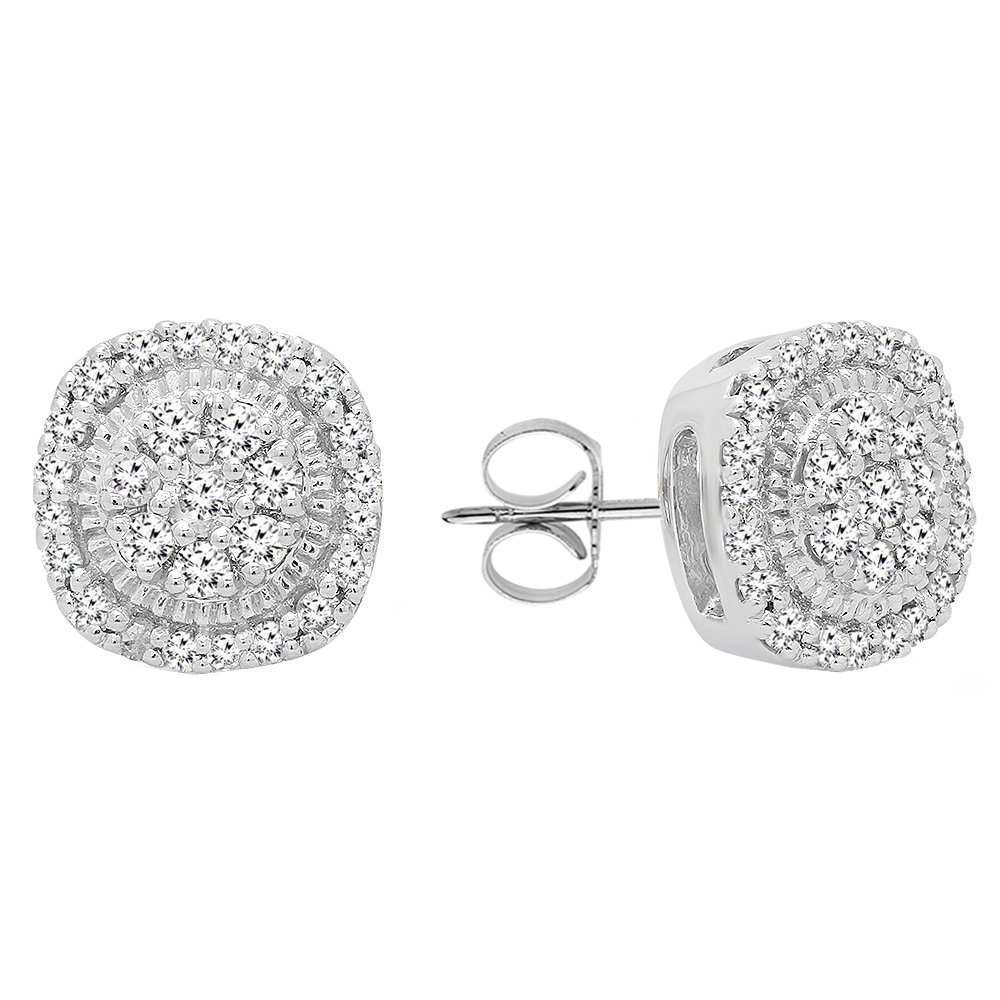 0.30 Carat (ctw) 10K White Gold Round Cut White Diamond Ladies Cluster Stud Earrings 1/3 CT