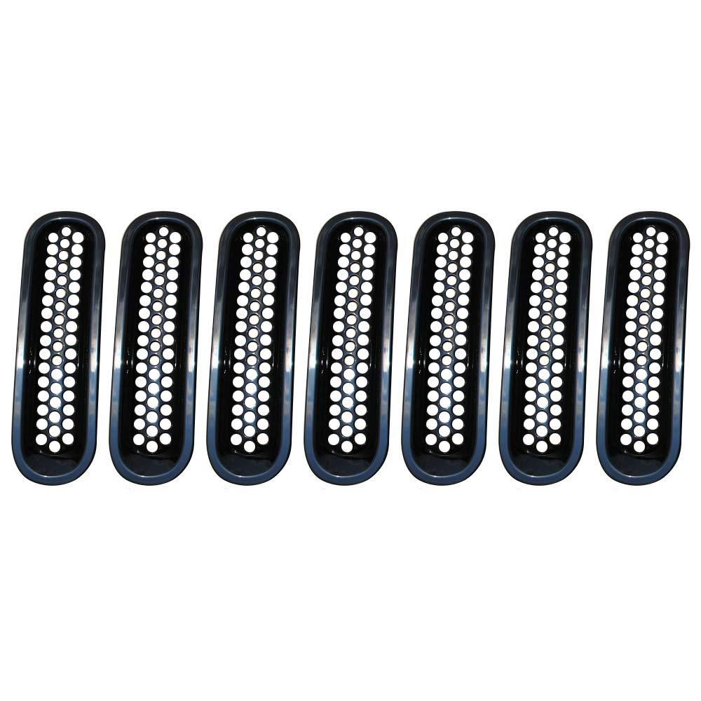 Grille de calandre Avant en ABS Grille de Protection pour grilles de billettes Noires pour 07-07 JEE p Wrangler JK SXMA Paquet de 7
