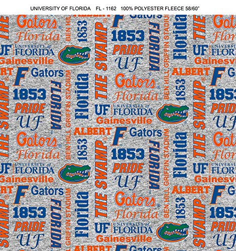 - University of Florida Fleece Blanket Fabric-Florida Gators Heather Grey Fleece Fabric Sold by The Yard