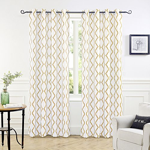 DriftAway Geovany Room Darkening Thermal Insulated Grommet Window Curtains Moroccan Geometric 2 Panels Each Size 52x84 Inch Champagne Gray ()