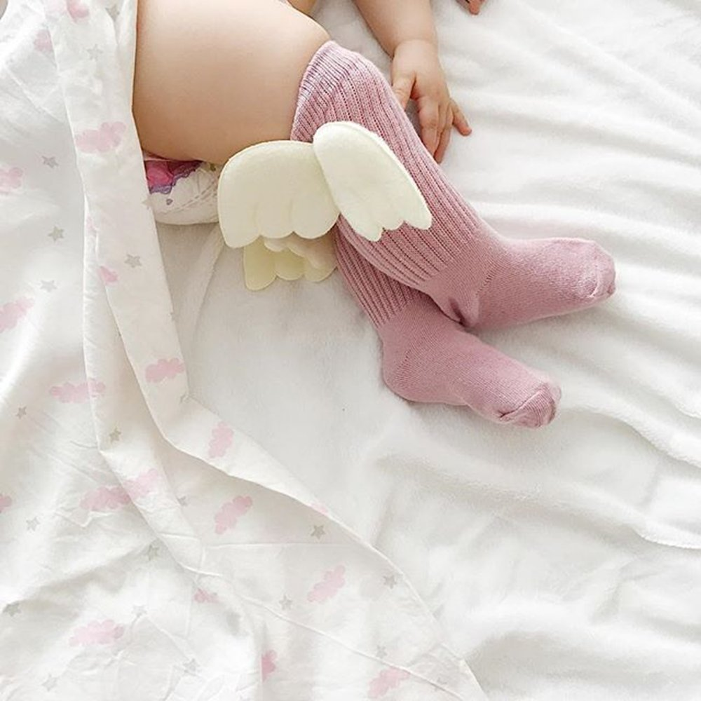 4 Pairs Baby Knee High Socks for Girls Boys Newborn Stockings Cotton Toddler Angel Wings New 2018 (S) by LUDASI (Image #2)
