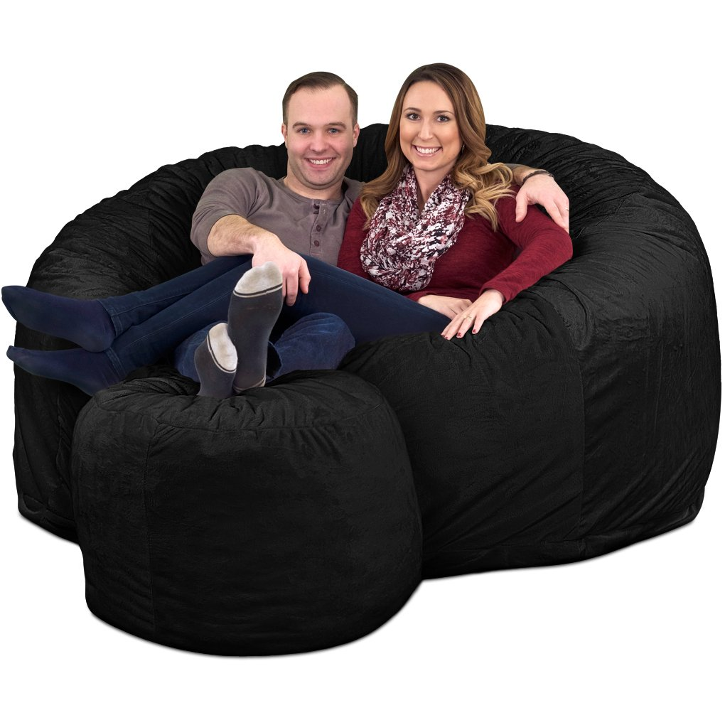 Ultimate Sack 6000 Bean Bag Chair w/Footstool: Giant Foam-Filled Furniture - Machine Washable Covers, Double Stitched Seams, Durable Inner Liner, and 100% Virgin Foam FOOTSTOOL Incl. (Charcoal, Fur)