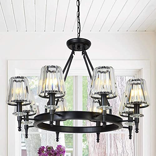 OSAIRUOS Farmhouse Chandelier Crystal Vintage Chandeliers for Dining Room Modern Contemporary Black Round Lighting Fixtures Hanging Living Room Foyer Entryway Chandelier W33.9 8 Lights