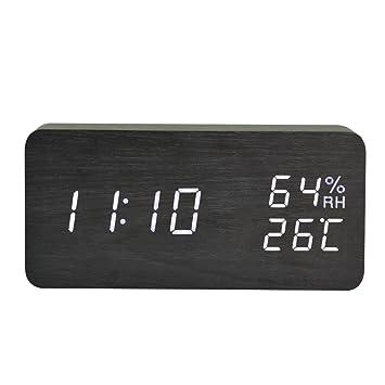 iBaste Reloj Despertador Rectangular Calendario Madera Alarma Electrónico LED Digital con Temperatura de Humedad Relojes de Mesilla Negro: Amazon.es: Hogar