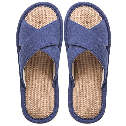 bedroom dark home for 41 wooden men couple cool and of slippers floor linen thick slip non home slippers summer blue 40 women fankou PSq71Ax