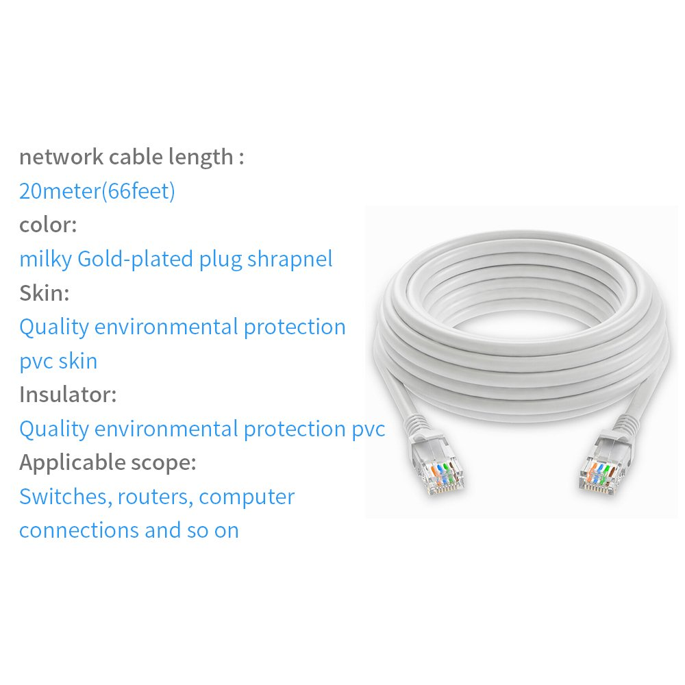 Ethernet Cable65feet 20mcat5e Patch Cord Network Over Electrical Wiring Rj45 Twisted Pair Lan Cable Indoor Outdoor Security Poe Camera