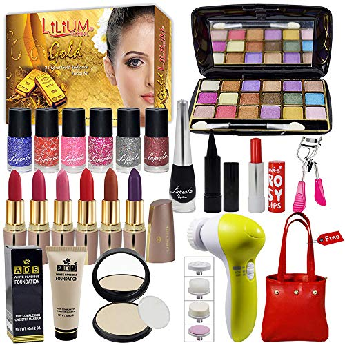 La Perla Beauty Combo Makeup Set With Gold Facial Kit,Massager & Handbag