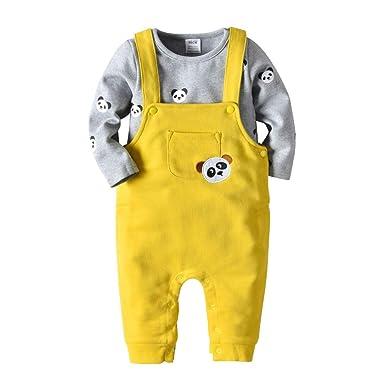 Mitlfuny Primavera Otoño Ropa Bebé Camisetas de Manga Larga Botón Monos Peleles Oso Estampado Sudaderas de