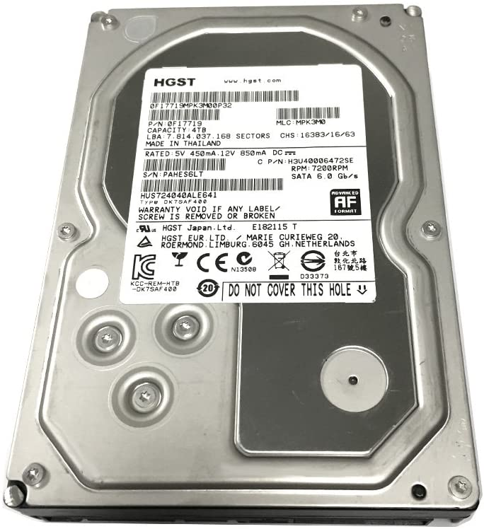 HGST Ultrastar 7K4000 4TB 64MB Cache 7200RPM SATA 6.0Gb/s 3.5inch Internal Hard Drive (for NAS, Desktop PC/Mac, Surveillance Storage, CCTV DVR) - 5 Year Warranty (Renewed)