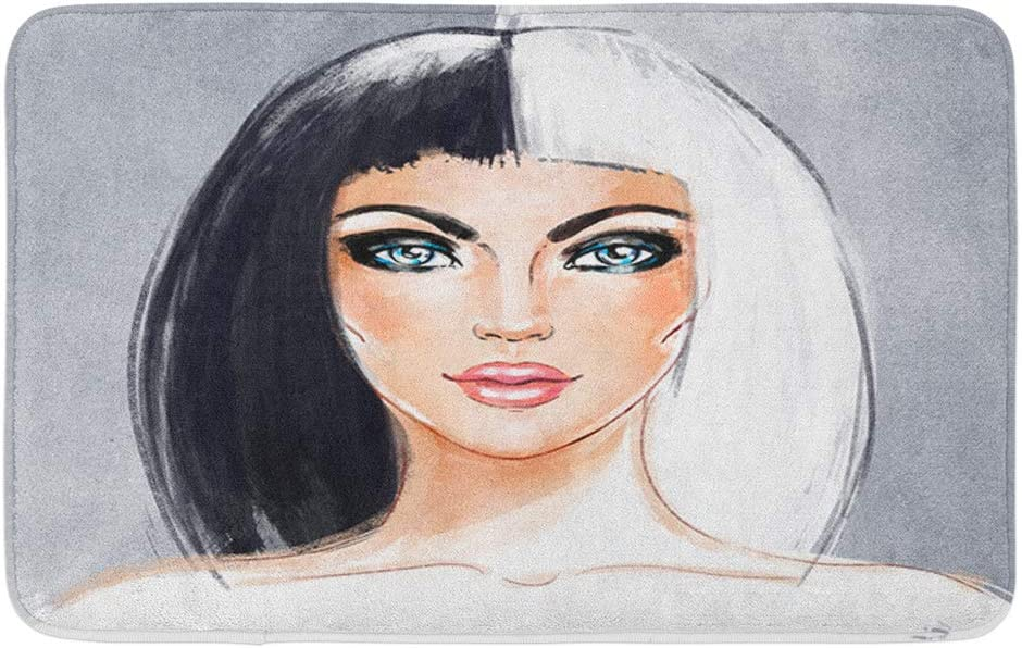 """Adowyee Bath Mat Woman Face Half Dyed Hair Style Trend Hand Painted Fashion is olated on Gray Black Cozy Bathroom Decor Bath Rug with Non Slip Backing 16"""" X 24"""""""
